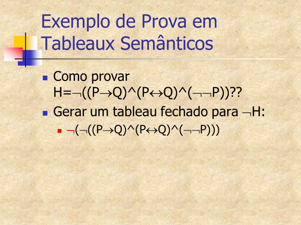Exemplo de Prova em Tableaux Semânticos Como provar H=  ((P  Q)^(P  Q)^(  P))?? Gerar um tableau fechado para  H:  (  ((P  Q)^(P  Q)^(  P)
