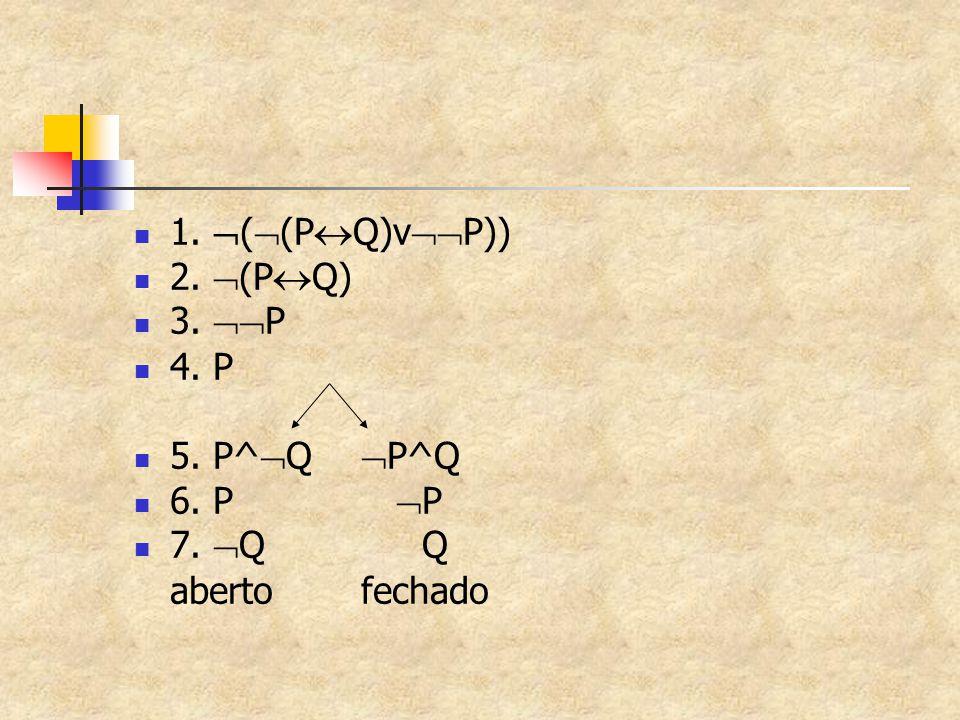 1.  (  (P  Q)v  P)) 2.  (P  Q) 3.  P 4. P 5. P^  Q  P^Q 6. P  P 7.  QQ aberto fechado