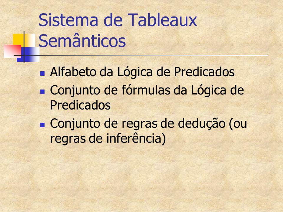 Conseqüência Lógica em Tableaux Semânticos Dada uma fórmula H e um conjunto de hipóteses  ={H1,H2,...Hn}, então H é conseqüência lógica em tableaux semânticos de  se existe uma prova, usando tableaux semânticos de (H1^H2^...^Hn)  H Porém em Lógica de 1ª.