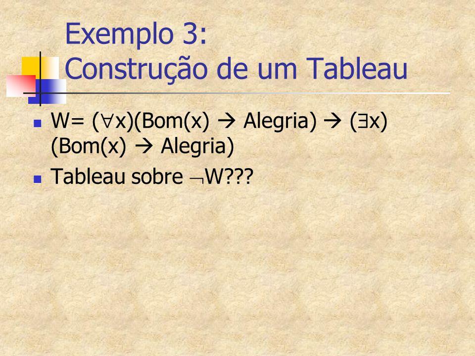 Exemplo 3: Construção de um Tableau W= (  x)(Bom(x)  Alegria)  (  x) (Bom(x)  Alegria) Tableau sobre  W???