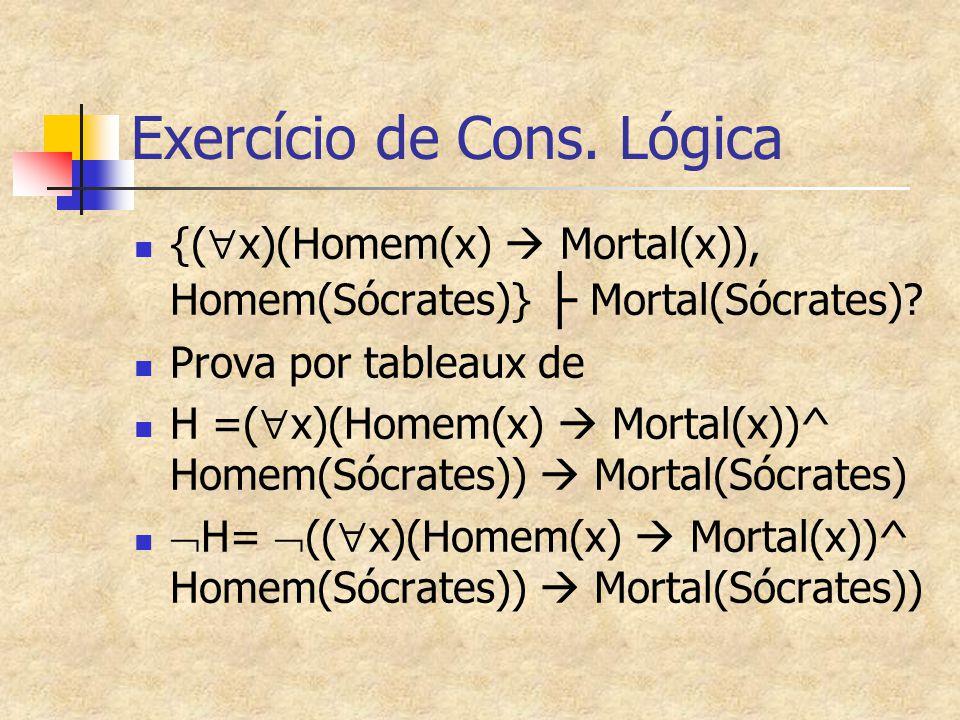 Exercício de Cons. Lógica {(  x)(Homem(x)  Mortal(x)), Homem(Sócrates)} ├ Mortal(Sócrates)? Prova por tableaux de H =(  x)(Homem(x)  Mortal(x))^ H
