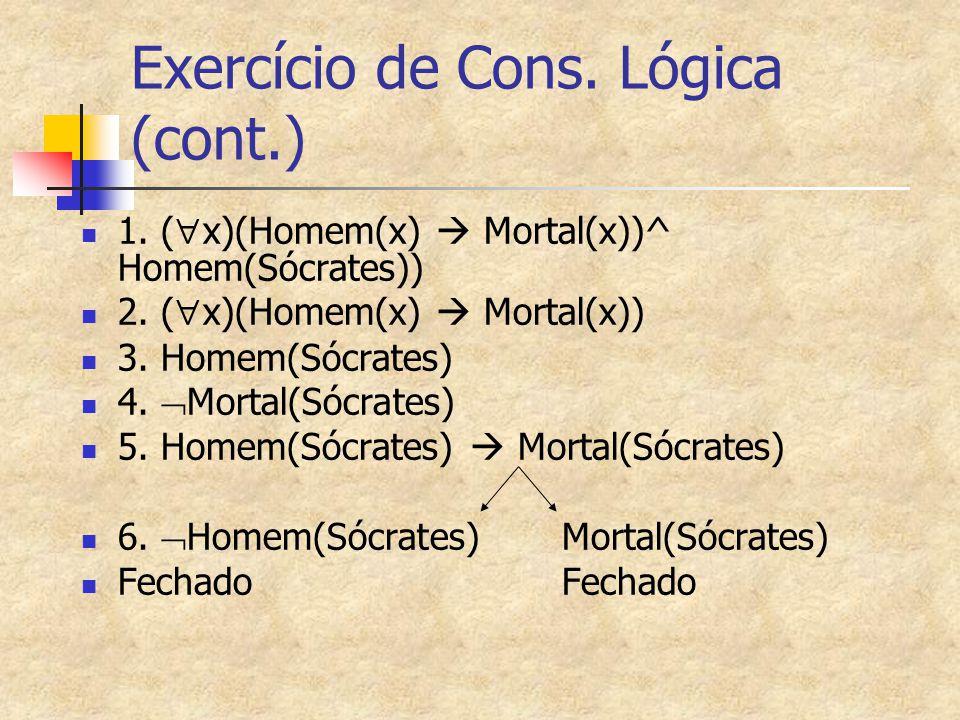 Exercício de Cons. Lógica (cont.) 1. (  x)(Homem(x)  Mortal(x))^ Homem(Sócrates)) 2. (  x)(Homem(x)  Mortal(x)) 3. Homem(Sócrates) 4.  Mortal(Sóc