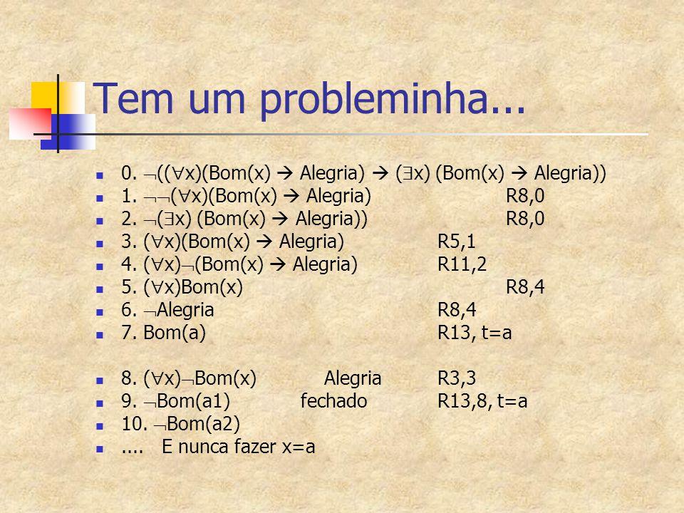 Tem um probleminha... 0.  ((  x)(Bom(x)  Alegria)  (  x) (Bom(x)  Alegria)) 1.  (  x)(Bom(x)  Alegria) R8,0 2.  (  x) (Bom(x)  Alegria))