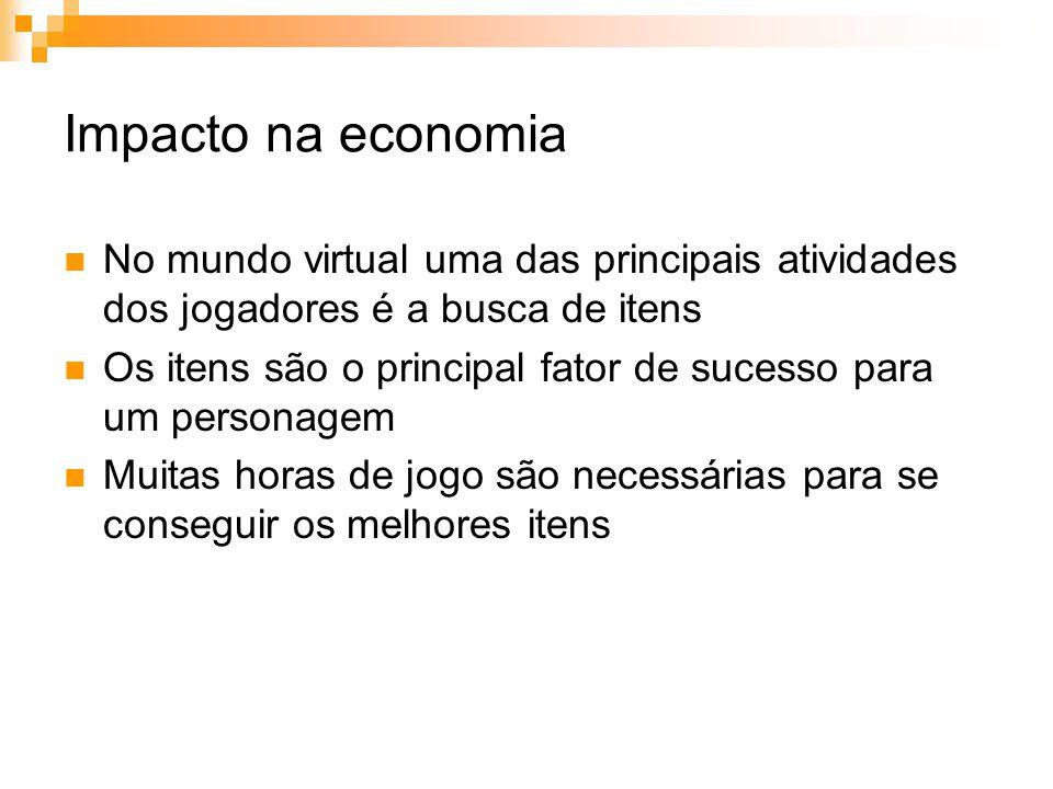 Impacto na economia No mundo virtual uma das principais atividades dos jogadores é a busca de itens Os itens são o principal fator de sucesso para um