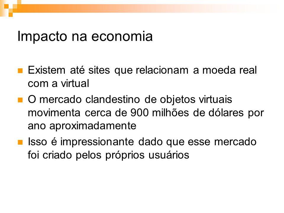 Impacto na economia Existem até sites que relacionam a moeda real com a virtual O mercado clandestino de objetos virtuais movimenta cerca de 900 milhõ