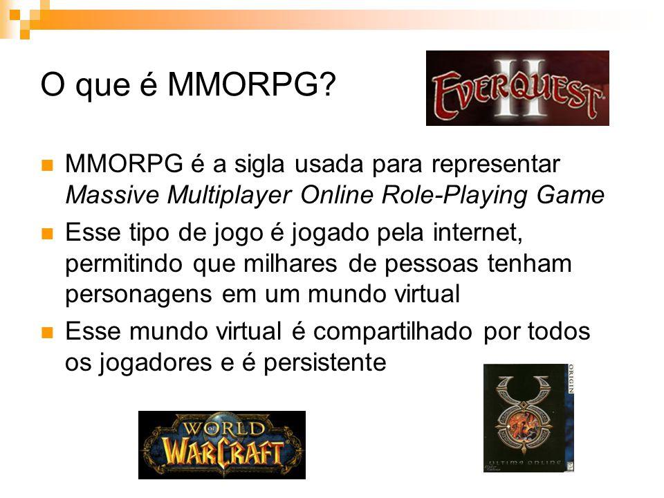 Conclusão Nos MMORPGs o jogador é envolvido pelo mundo virtual, vivendo quase que uma vida paralela O fato de serem pessoas reais representando os personagens do jogo que faz os MMORPGs serem tão interessantes Deve se ter cuidado com o poder de atração desse tipo de jogo, pois algumas pessoas confundem o mundo real com o virtual