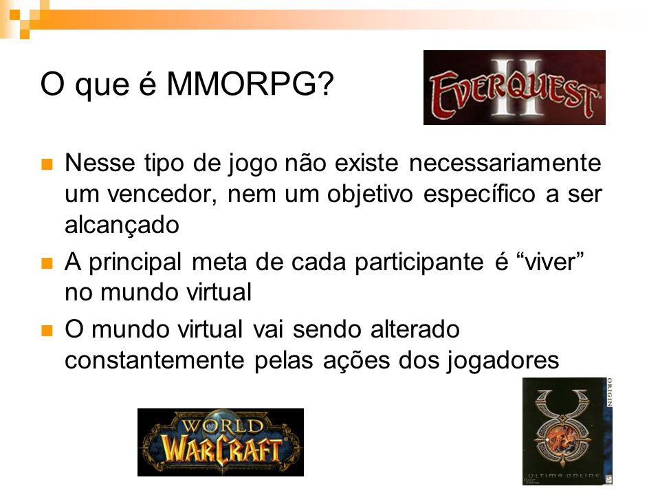 Histórico Apesar de os MMORPGs terem ancestrais que surgiram na década de 70, foi na década de 90 que surgiram os primeiros MMORPGs Em 1997 foi lançado Ultima Online , seu criador, Richard Garriott, foi quem criou o termo MMORPG Em 1998 surgiram Lineage e Everquest , que alcançaram a marca de milhões de jogadores