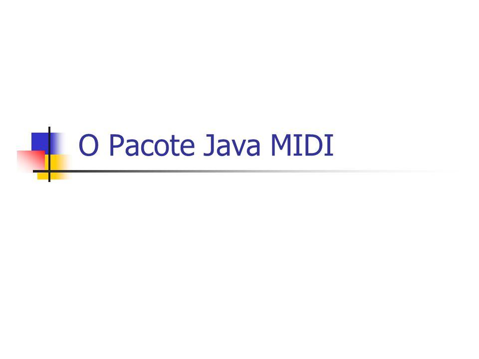 Roteiro Principais Classes e Interfaces do Pacote MIDI Acessando Recursos MIDI Carregando Seqüências MIDI Transmitindo e Recebendo Mensagens MIDI Gravando e Editando Seqüências MIDI Recursos Avançados de Sequencer Sintetizando Som