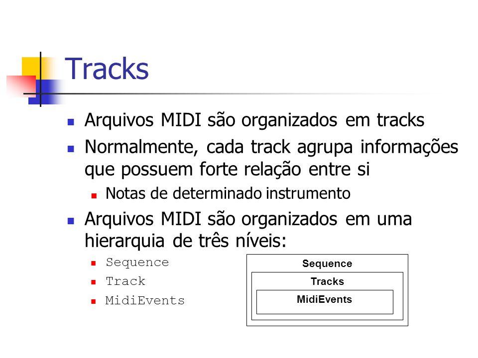 Tracks Arquivos MIDI são organizados em tracks Normalmente, cada track agrupa informações que possuem forte relação entre si Notas de determinado inst