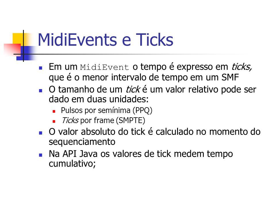 MidiEvents e Ticks Em um MidiEvent o tempo é expresso em ticks, que é o menor intervalo de tempo em um SMF O tamanho de um tick é um valor relativo po