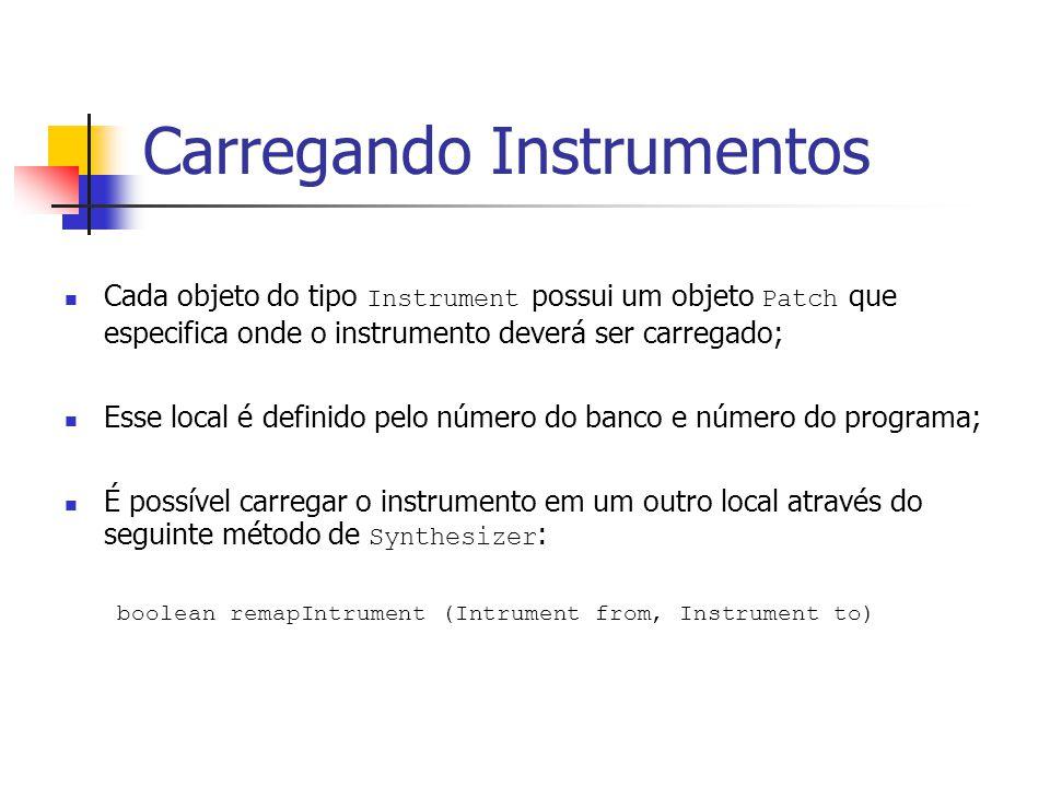 Carregando Instrumentos Cada objeto do tipo Instrument possui um objeto Patch que especifica onde o instrumento deverá ser carregado; Esse local é def