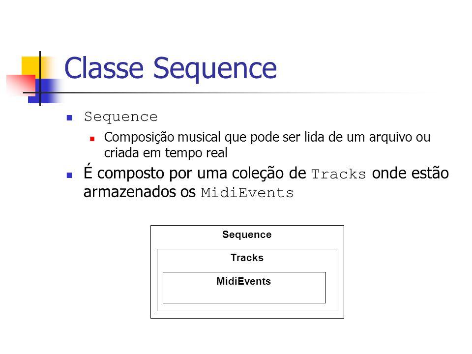 Classe Sequence Sequence Composição musical que pode ser lida de um arquivo ou criada em tempo real É composto por uma coleção de Tracks onde estão ar