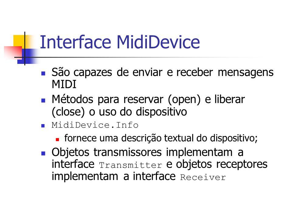 Interface Sequencer Dispositivo para captura e execução de seqüências de eventos MIDI Responsável por manter os dados sincronizados Possui transmissores e receptores Sequencer é uma subinterface de MidiDevice