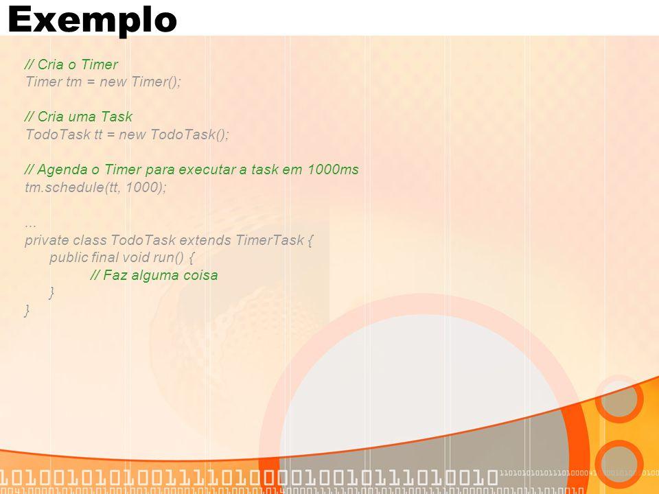 Exemplo // Cria o Timer Timer tm = new Timer(); // Cria uma Task TodoTask tt = new TodoTask(); // Agenda o Timer para executar a task em 1000ms tm.schedule(tt, 1000);...