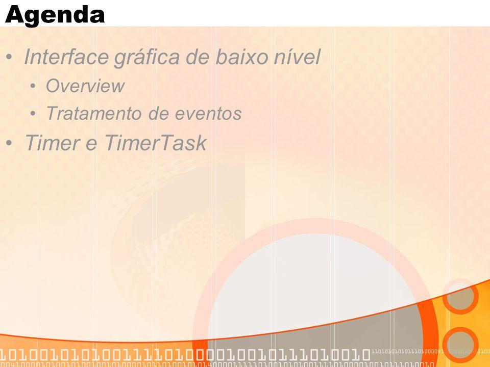 Agenda Interface gráfica de baixo nível Overview Tratamento de eventos Timer e TimerTask