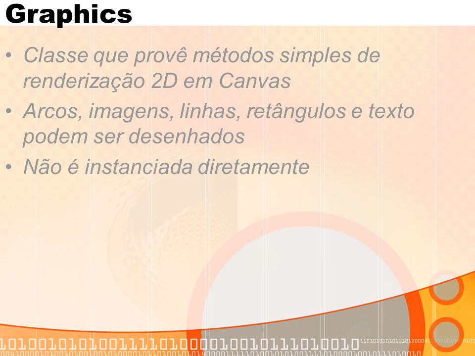 Graphics Métodos principais drawArc (int x, int y, int width, int height, int startAngle, int arcAngle) drawImage(Image img, int x, int y, int anchor) drawLine(int x1, int y1, int x2, int y2) drawString(String str, int x, int y, int anchor) fillArc(int x, int y, int width, int height, int startAngle, int arcAngle) fillRect(int x, int y, int width, int height)