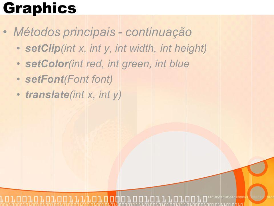 Canvas Classe que herda de Displayable Representa uma Área na tela que pode ser livremente desenhada e apagada Fornece métodos para tratamento de eventos de teclas, game actions e pointer actions Usa Graphics para desenho no Canvas O programador cria uma subclasse de Canvas