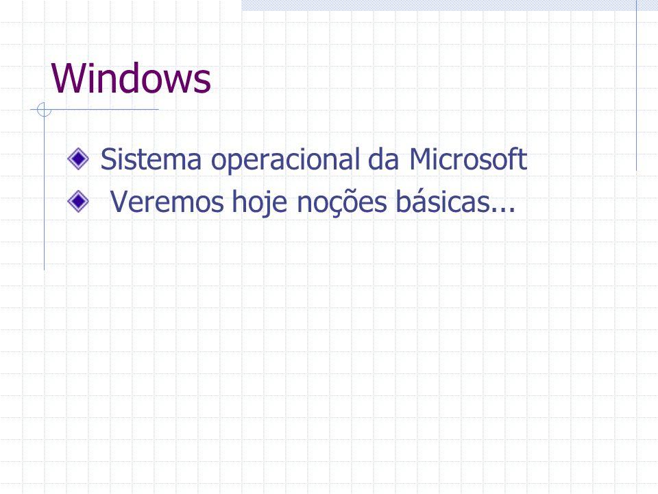 Windows Sistema operacional da Microsoft Veremos hoje noções básicas...