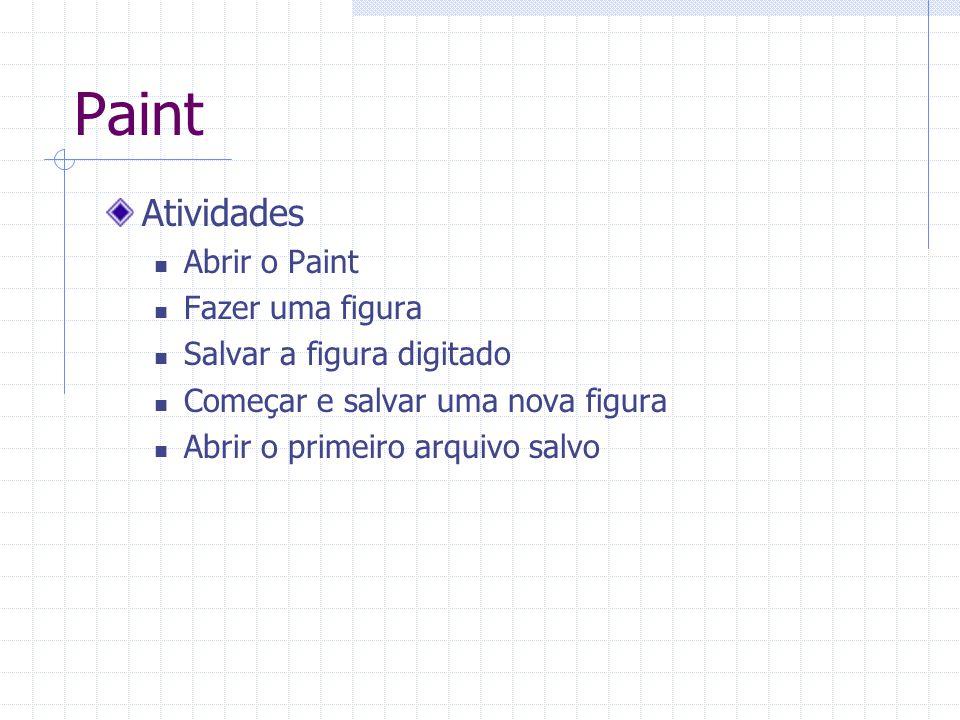 Paint Atividades Abrir o Paint Fazer uma figura Salvar a figura digitado Começar e salvar uma nova figura Abrir o primeiro arquivo salvo