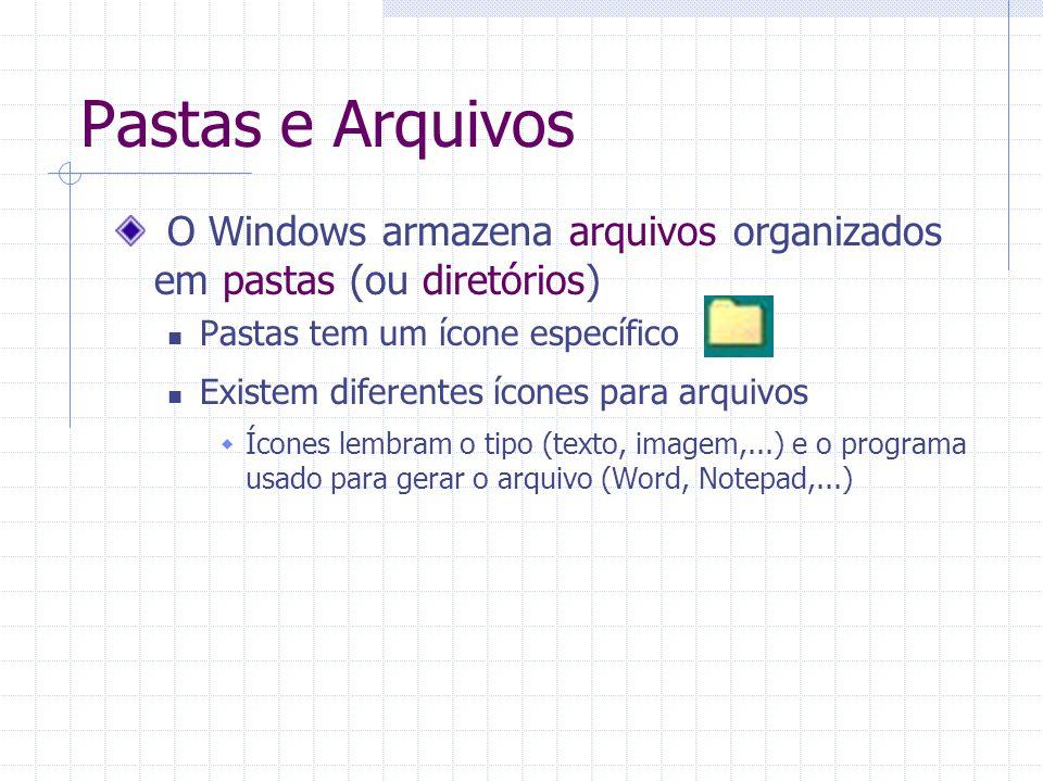 Pastas e Arquivos O Windows armazena arquivos organizados em pastas (ou diretórios) Pastas tem um ícone específico Existem diferentes ícones para arqu