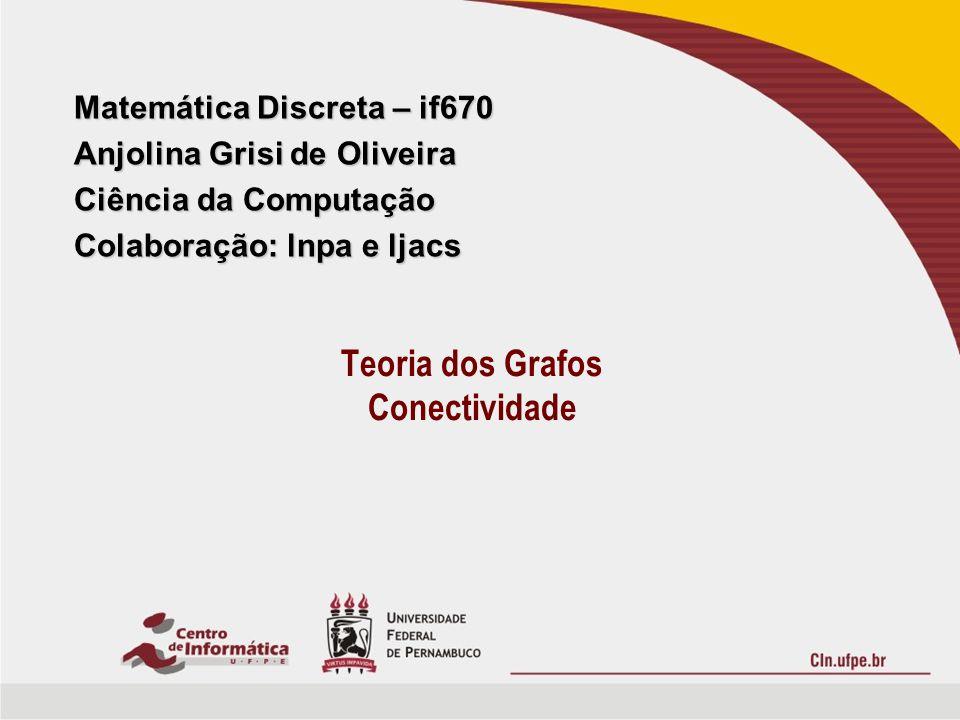 Matemática Discreta – if670 Anjolina Grisi de Oliveira Ciência da Computação Colaboração: lnpa e ljacs Teoria dos Grafos Conectividade