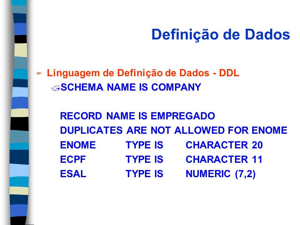 Definição de Dados F Linguagem de Definição de Dados - DDL / SCHEMA NAME IS COMPANY RECORD NAME IS EMPREGADO DUPLICATES ARE NOT ALLOWED FOR ENOME ENOMETYPE ISCHARACTER 20 ECPFTYPE IS CHARACTER 11 ESALTYPE ISNUMERIC (7,2)