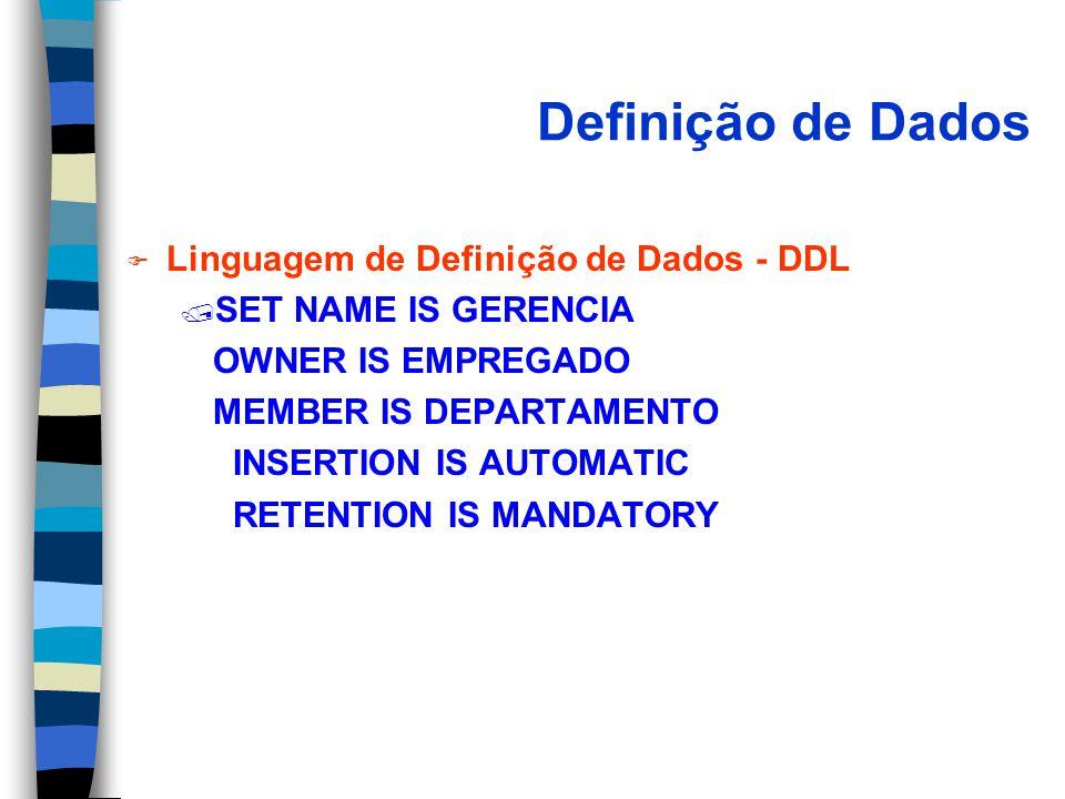Definição de Dados F Linguagem de Definição de Dados - DDL / SET NAME IS GERENCIA OWNER IS EMPREGADO MEMBER IS DEPARTAMENTO INSERTION IS AUTOMATIC RETENTION IS MANDATORY