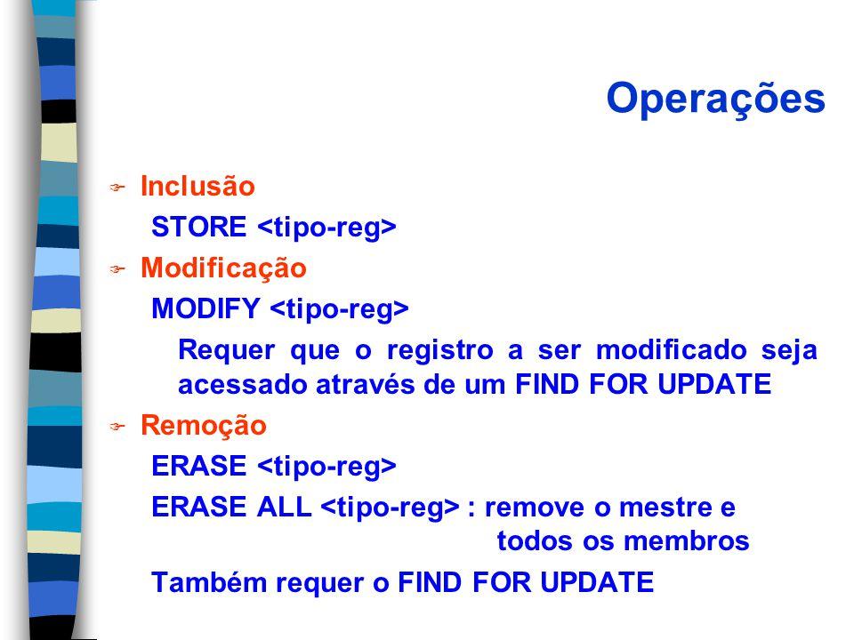 Operações F Inclusão STORE F Modificação MODIFY Requer que o registro a ser modificado seja acessado através de um FIND FOR UPDATE F Remoção ERASE ERASE ALL : remove o mestre e todos os membros Também requer o FIND FOR UPDATE