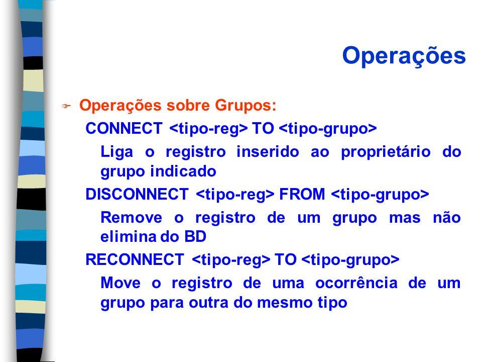 Operações F Operações sobre Grupos: CONNECT TO Liga o registro inserido ao proprietário do grupo indicado DISCONNECT FROM Remove o registro de um grupo mas não elimina do BD RECONNECT TO Move o registro de uma ocorrência de um grupo para outra do mesmo tipo