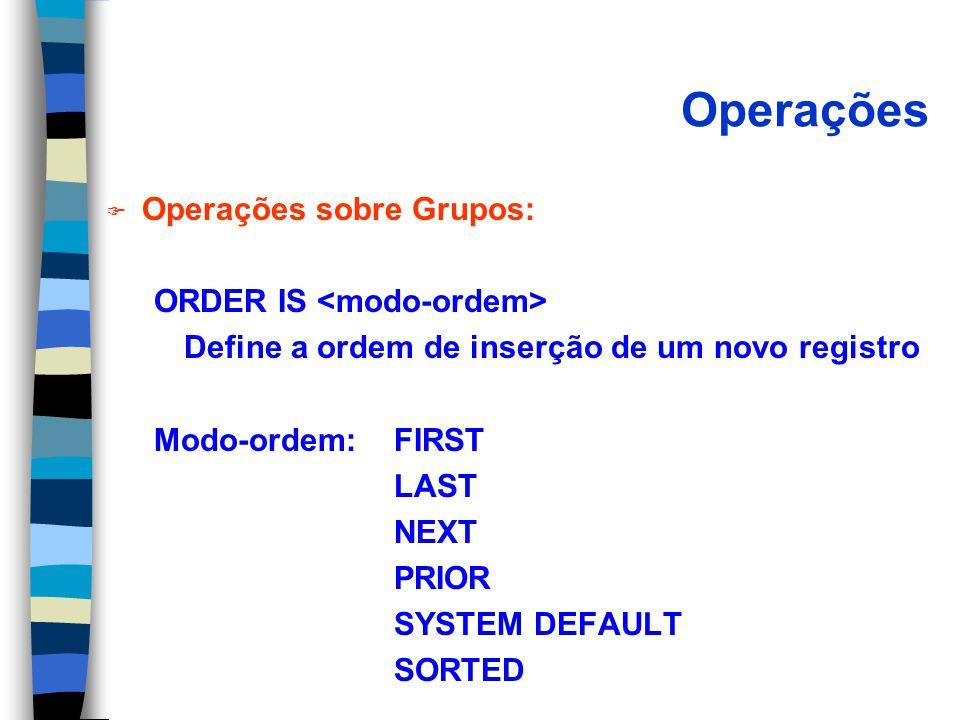 Operações F Operações sobre Grupos: ORDER IS Define a ordem de inserção de um novo registro Modo-ordem:FIRST LAST NEXT PRIOR SYSTEM DEFAULT SORTED