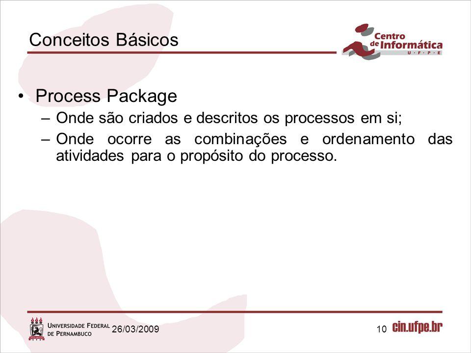 10 Conceitos Básicos Process Package –Onde são criados e descritos os processos em si; –Onde ocorre as combinações e ordenamento das atividades para o