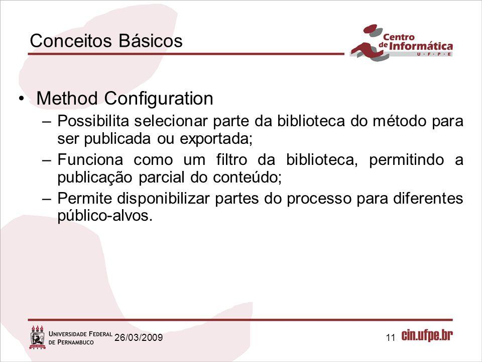 11 Conceitos Básicos Method Configuration –Possibilita selecionar parte da biblioteca do método para ser publicada ou exportada; –Funciona como um fil