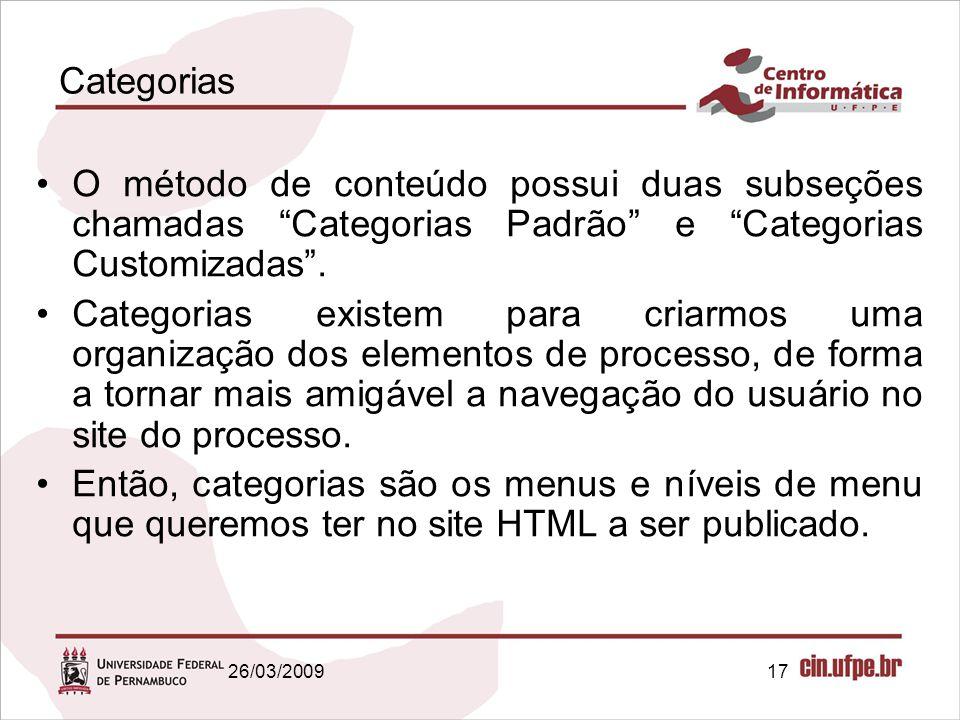 """17 Categorias O método de conteúdo possui duas subseções chamadas """"Categorias Padrão"""" e """"Categorias Customizadas"""". Categorias existem para criarmos um"""