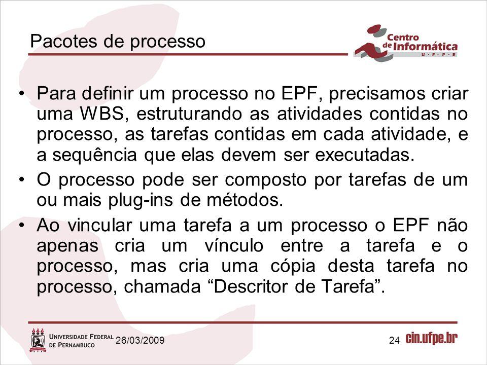 24 Pacotes de processo Para definir um processo no EPF, precisamos criar uma WBS, estruturando as atividades contidas no processo, as tarefas contidas