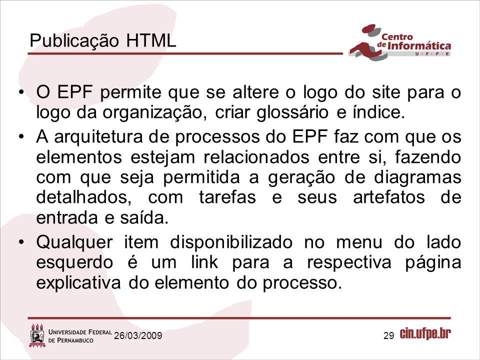 29 Publicação HTML O EPF permite que se altere o logo do site para o logo da organização, criar glossário e índice. A arquitetura de processos do EPF