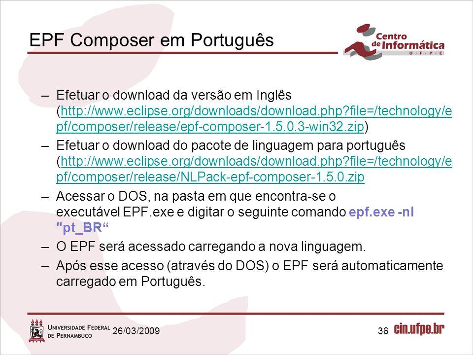 36 EPF Composer em Português –Efetuar o download da versão em Inglês (http://www.eclipse.org/downloads/download.php?file=/technology/e pf/composer/rel