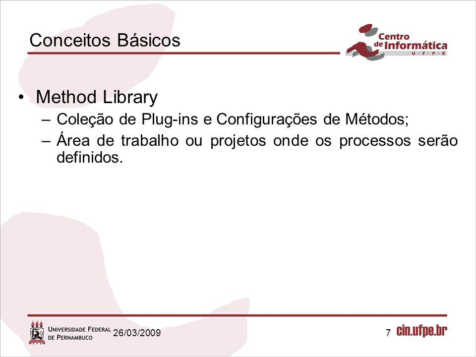 7 Conceitos Básicos Method Library –Coleção de Plug-ins e Configurações de Métodos; –Área de trabalho ou projetos onde os processos serão definidos. 2