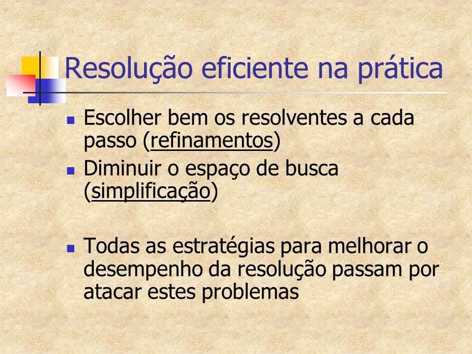 Resolução eficiente na prática Escolher bem os resolventes a cada passo (refinamentos) Diminuir o espaço de busca (simplificação) Todas as estratégias