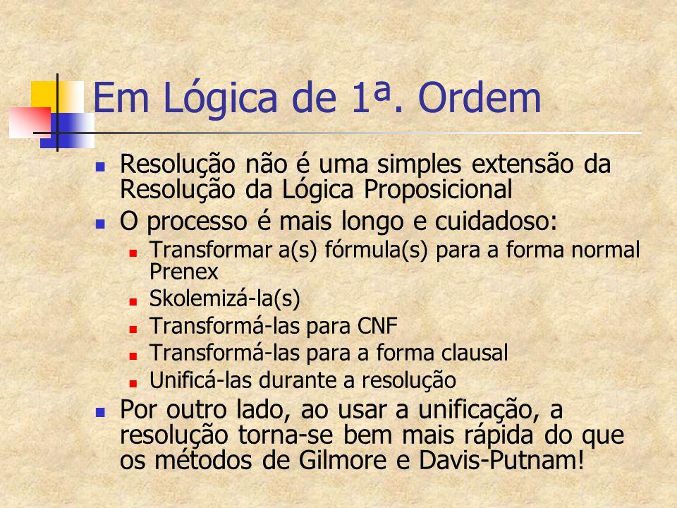 Em Lógica de 1ª. Ordem Resolução não é uma simples extensão da Resolução da Lógica Proposicional O processo é mais longo e cuidadoso: Transformar a(s)