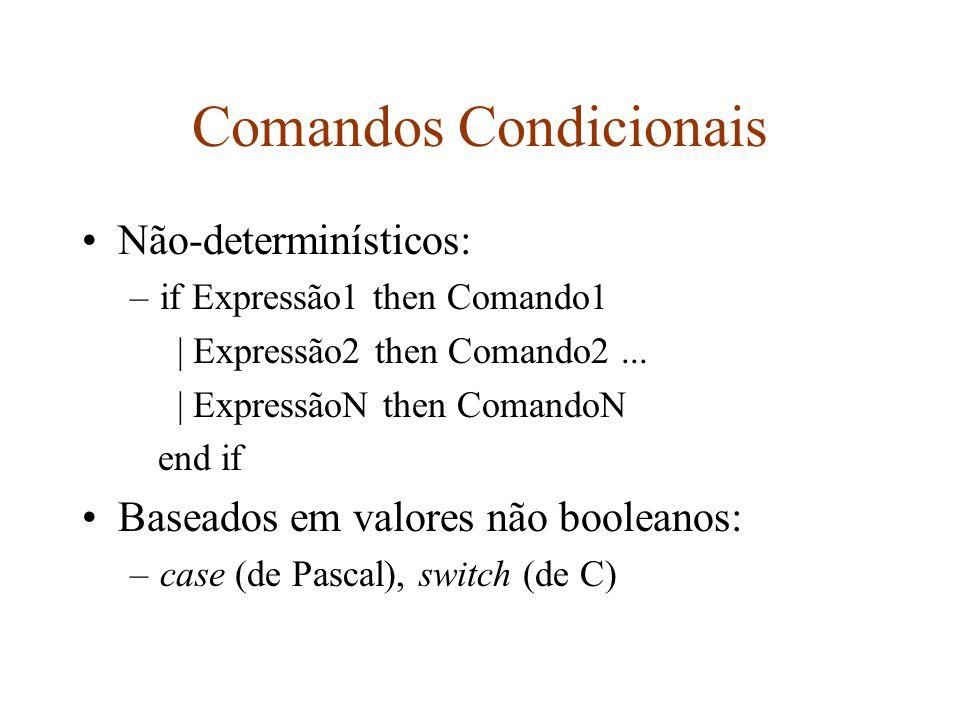 Comandos Iterativos Variam de acordo com o número de iterações: –definido, com variável e seqüência de controle, for (de Pascal e C) –indefinido, while (de Pascal e C) A seqüência de controle não tem que ser uma progressão aritmética, definida por constantes