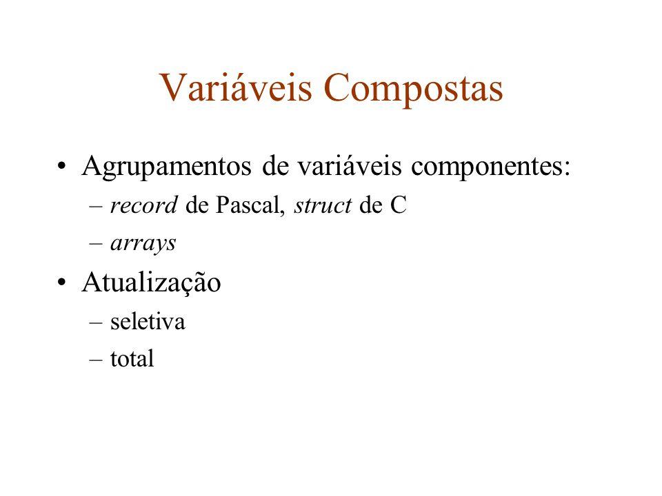 Arrays Alternativas para a definição dos limites de um array: –estático, determinado em tempo de compilação –dinâmico, determinado no momento da criação (inicialização) da variável –flexível, não é determinado em nenhum momento