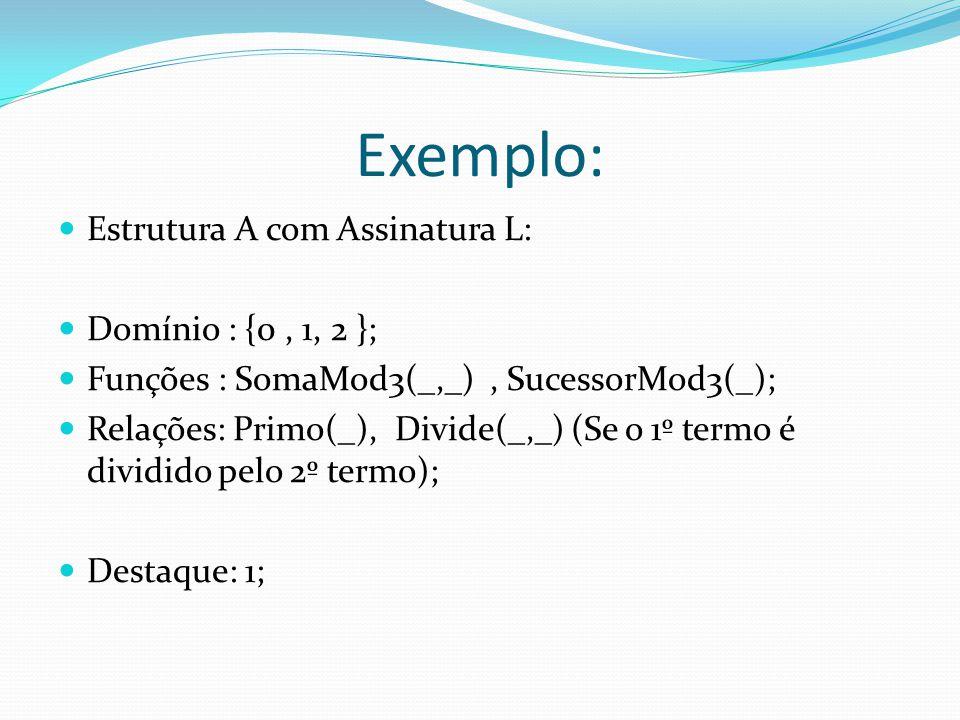 Exemplo: Estrutura A com Assinatura L: Domínio : {0, 1, 2 }; Funções : SomaMod3(_,_), SucessorMod3(_); Relações: Primo(_), Divide(_,_) (Se o 1º termo