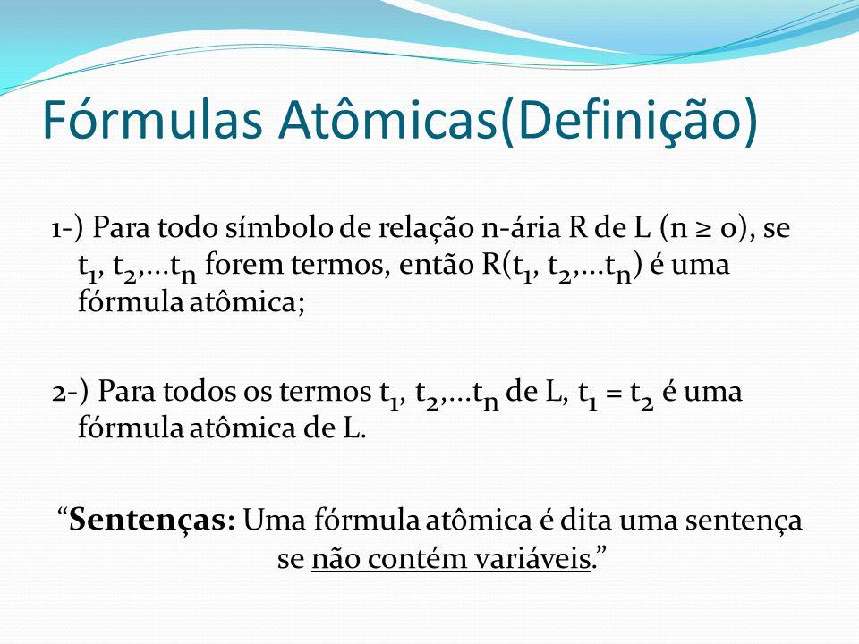 Fórmulas Atômicas(Definição) 1-) Para todo símbolo de relação n-ária R de L (n ≥ 0), se t 1, t 2,...t n forem termos, então R(t 1, t 2,...t n ) é uma