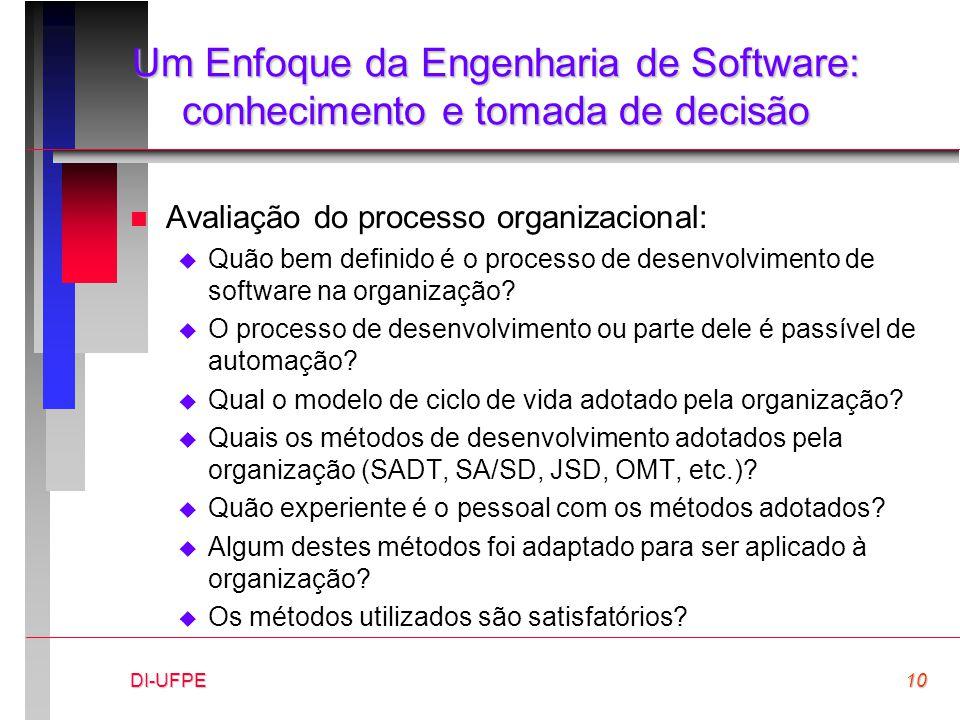 DI-UFPE10 Um Enfoque da Engenharia de Software: conhecimento e tomada de decisão n Avaliação do processo organizacional:  Quão bem definido é o proce