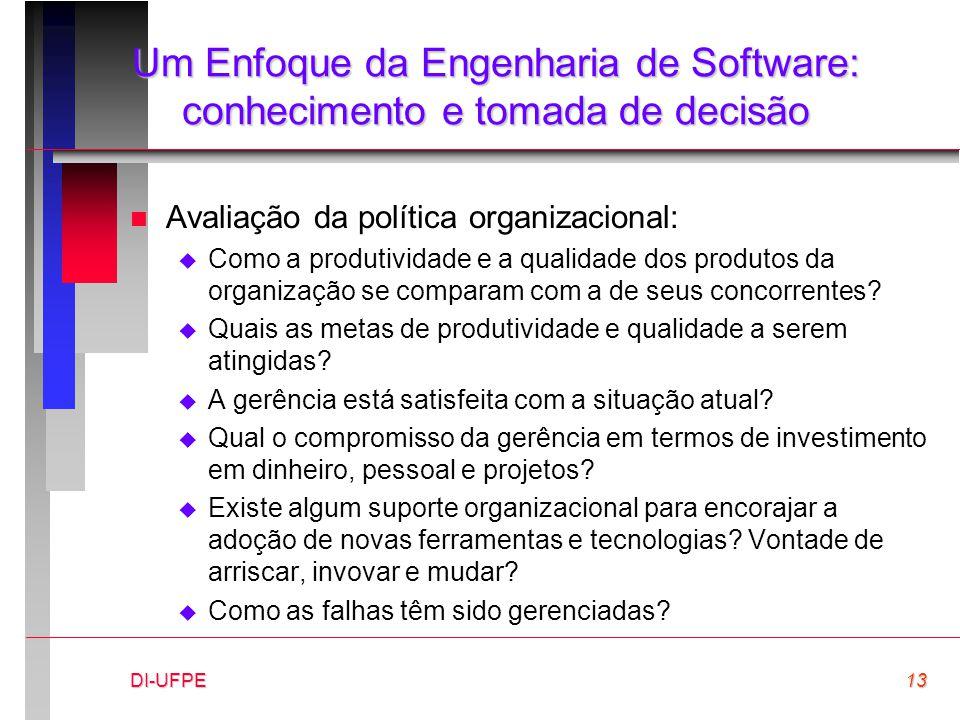 DI-UFPE13 Um Enfoque da Engenharia de Software: conhecimento e tomada de decisão n Avaliação da política organizacional:  Como a produtividade e a qu