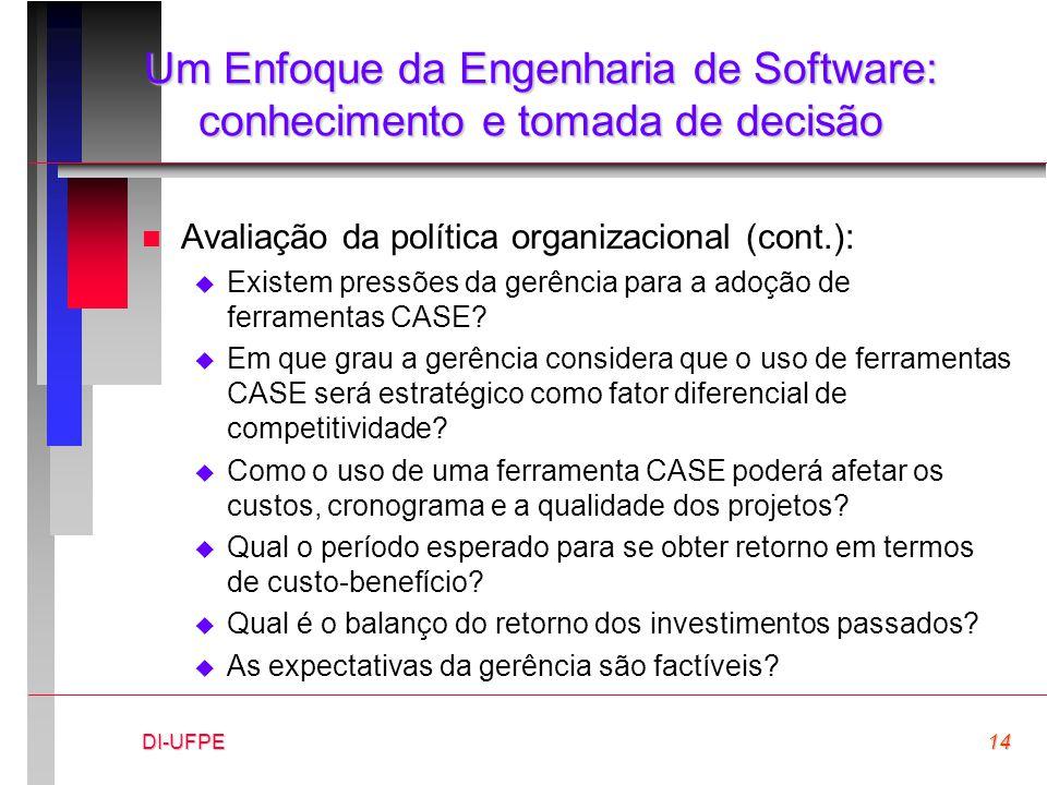 DI-UFPE14 Um Enfoque da Engenharia de Software: conhecimento e tomada de decisão n Avaliação da política organizacional (cont.):  Existem pressões da