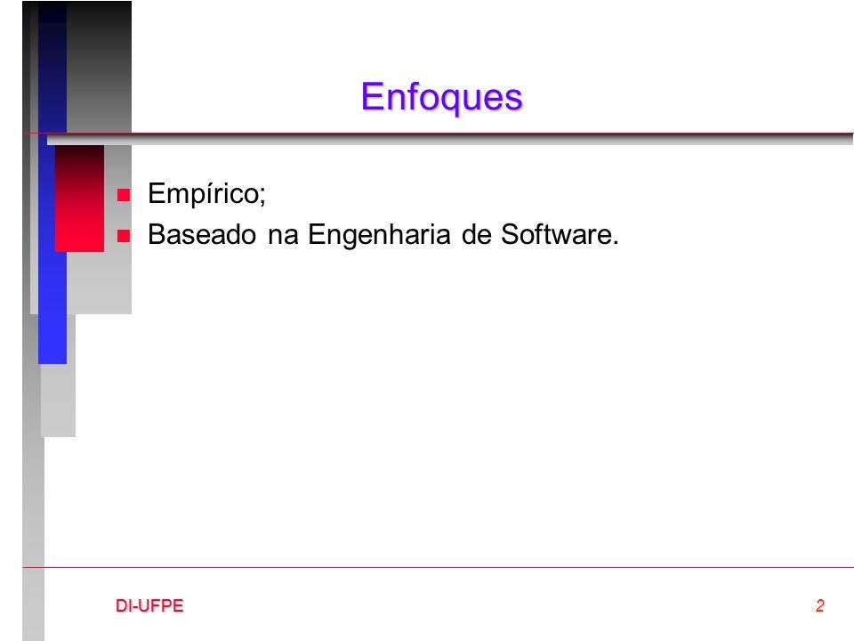 DI-UFPE2DI-UFPEDI-UFPE Enfoques n Empírico; n Baseado na Engenharia de Software.