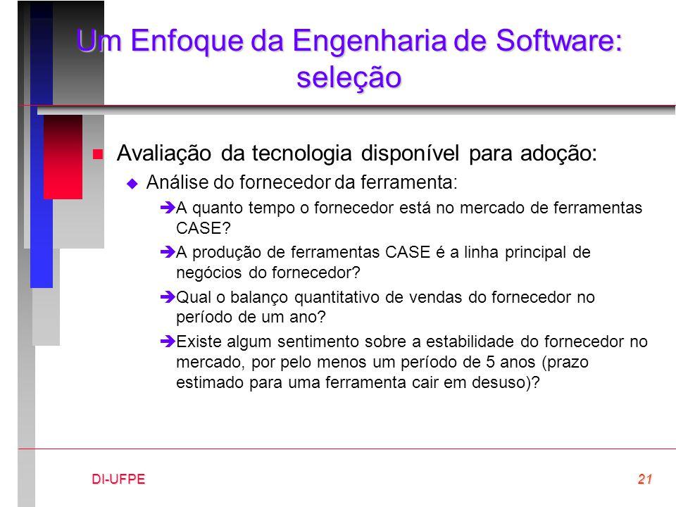 DI-UFPE21 Um Enfoque da Engenharia de Software: seleção n Avaliação da tecnologia disponível para adoção:  Análise do fornecedor da ferramenta: èA qu