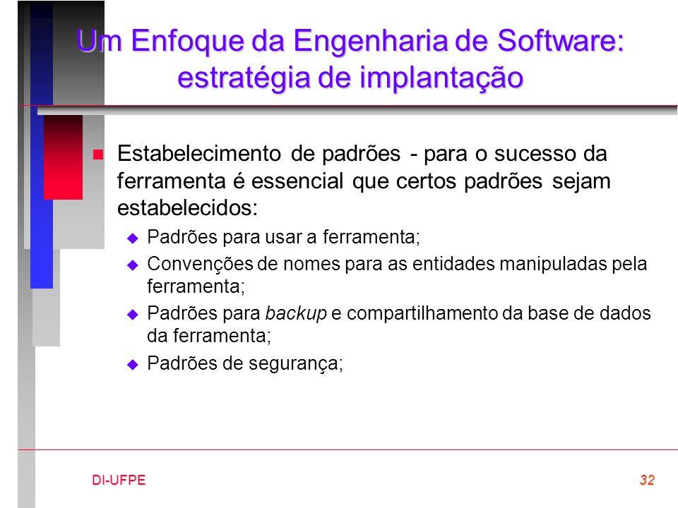 DI-UFPE32 Um Enfoque da Engenharia de Software: estratégia de implantação n Estabelecimento de padrões - para o sucesso da ferramenta é essencial que