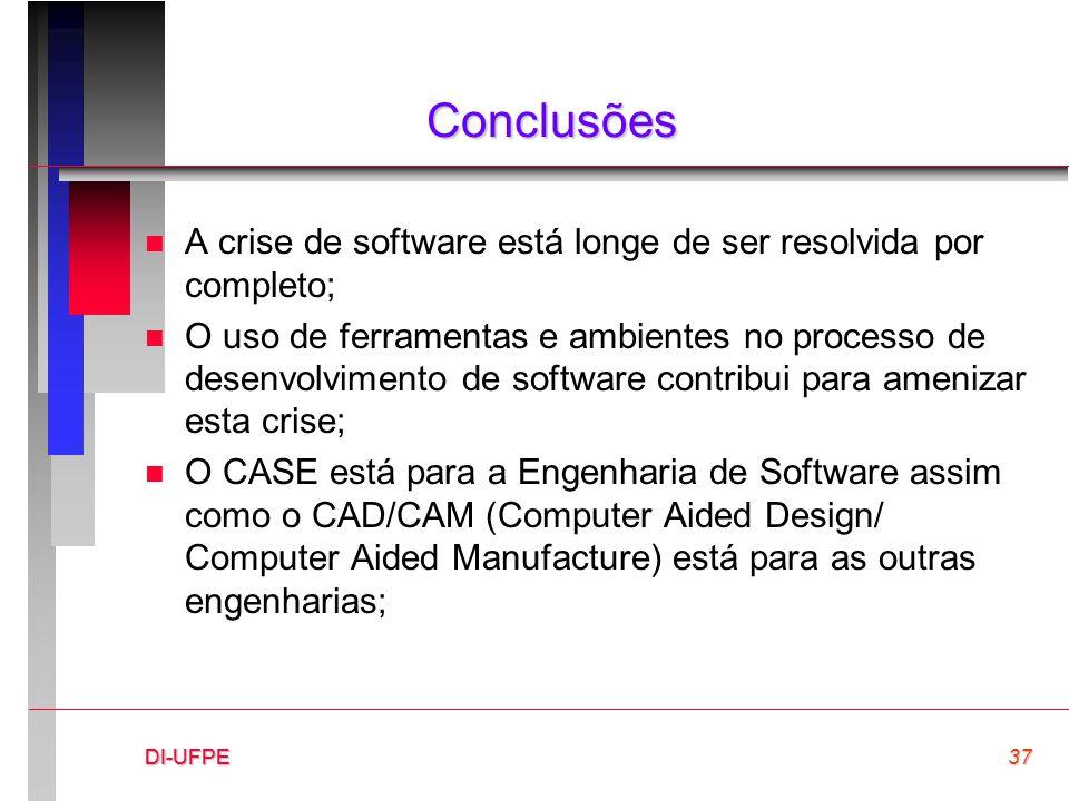 DI-UFPE37DI-UFPEDI-UFPE Conclusões n A crise de software está longe de ser resolvida por completo; n O uso de ferramentas e ambientes no processo de d